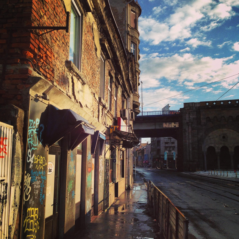 Sur les quais à Belgrade en janvier