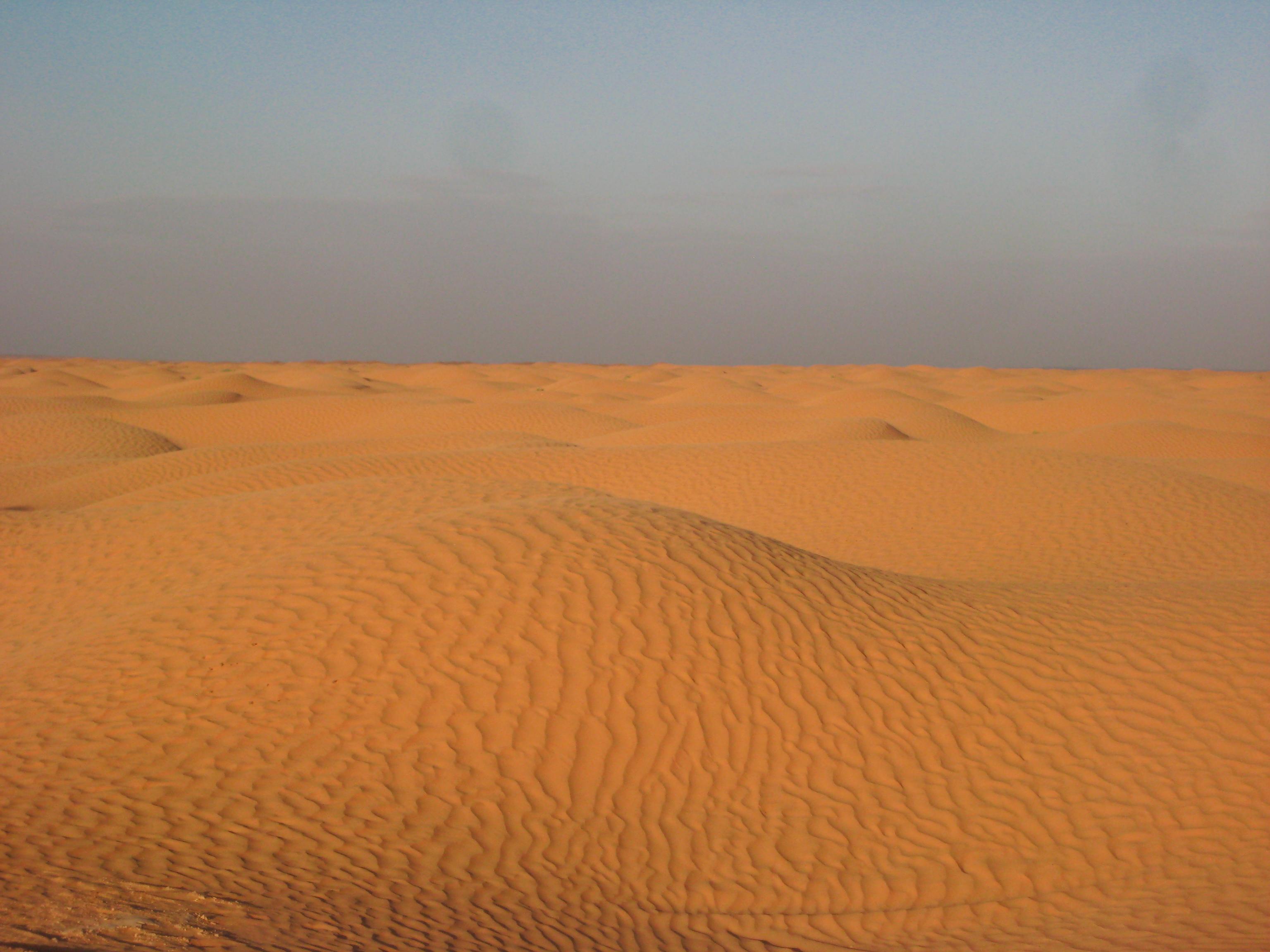 Coucher de soleil sur le désert tunisien