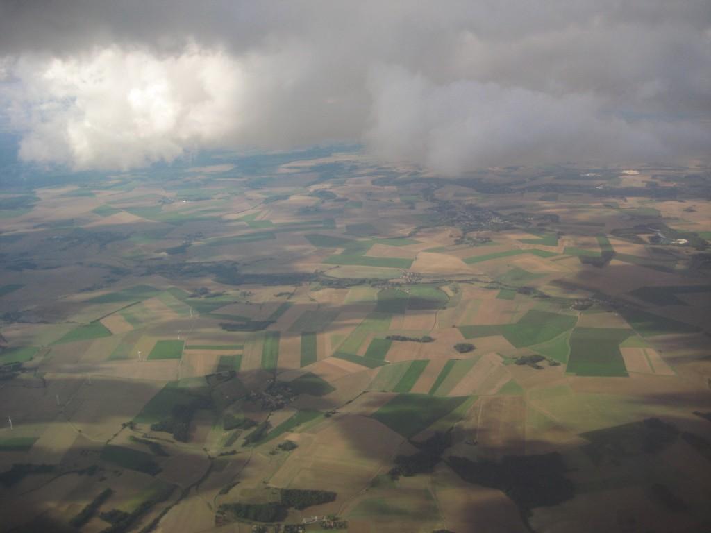 Cliché pris depuis un avion en arrivant à Roissy