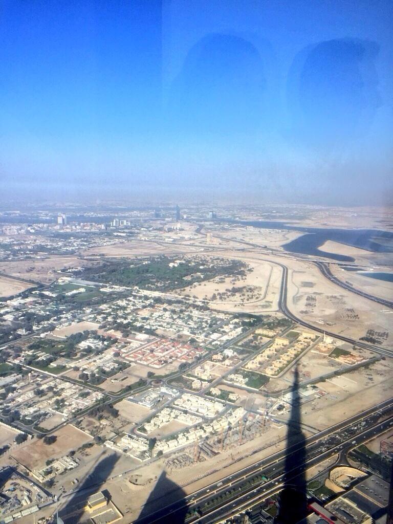 Vue depuis la plus haute tour de la planète à Dubaï