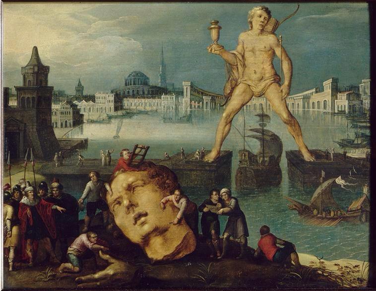 Représentation du colosse de Rhodes par Louis de Caullery