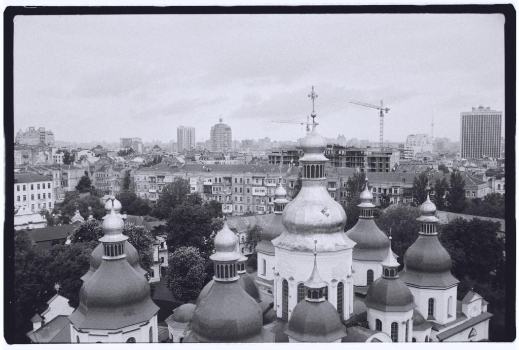 Panorama sur la ville de Kiev et sur les toits de la cathédrale Sainte-Sophie.