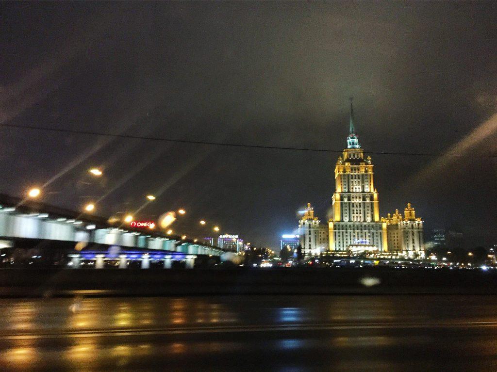 L'hôtel Kiev à Moscou, by night