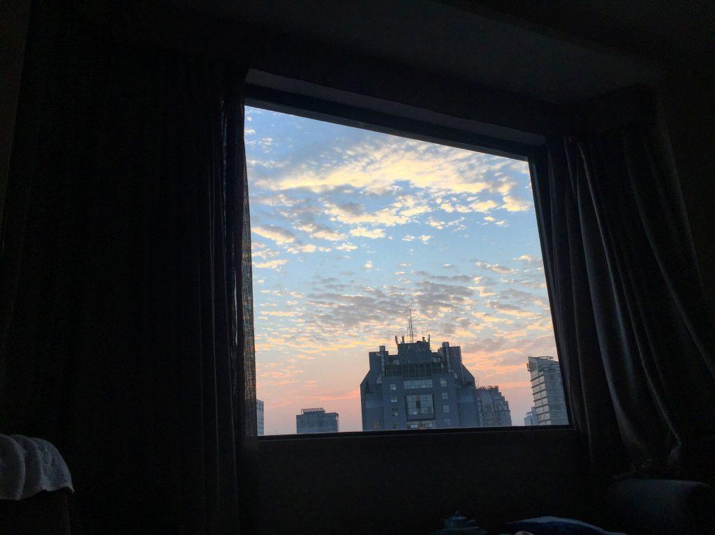 Vue depuis une chambre du Novotel à Pékin