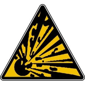 attention matière dangereuse et explosive
