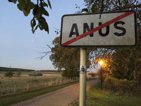 Le dernier panneau de signalisation de la ville d'Anus dans le 89