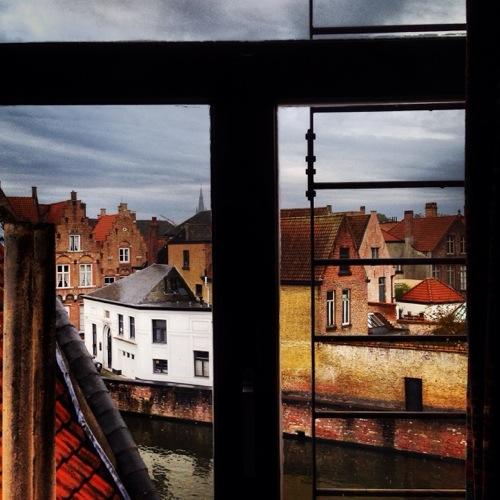 Vue imprenables sur les toits de la ville de Bruges