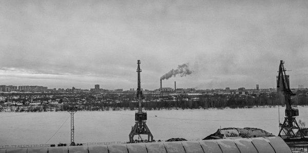 L'Ob photographié en hiver à Novossibirsk