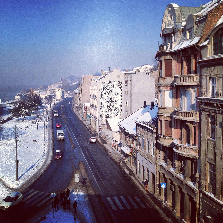 Vue sur les quais à Belgrade
