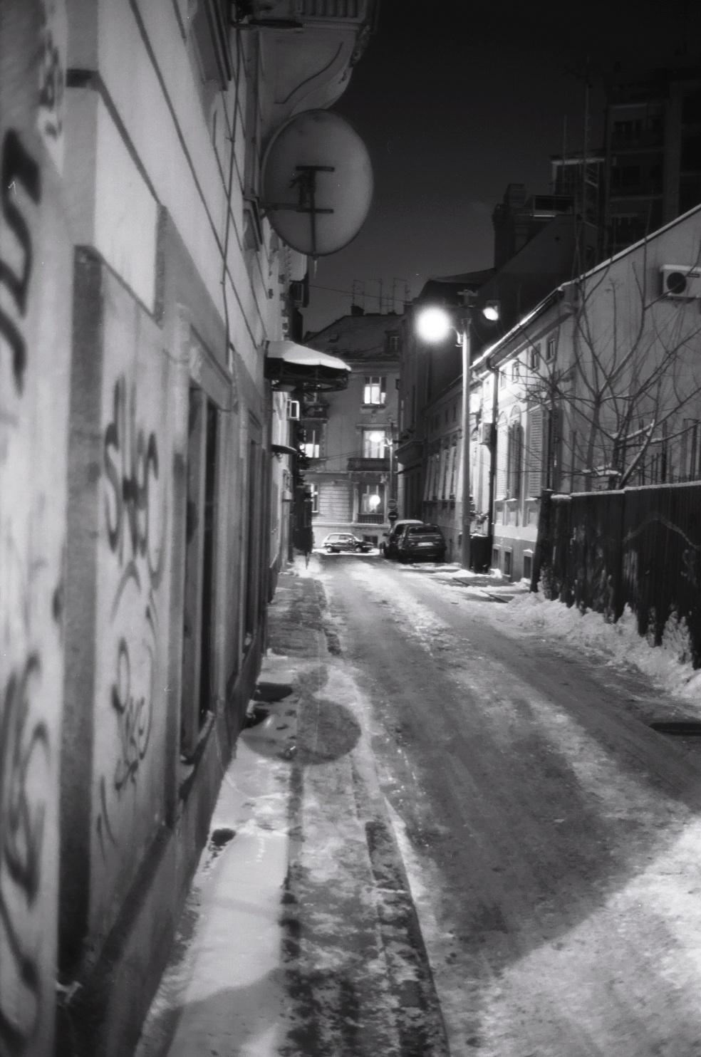 une nuit sous la neige à Belgrade