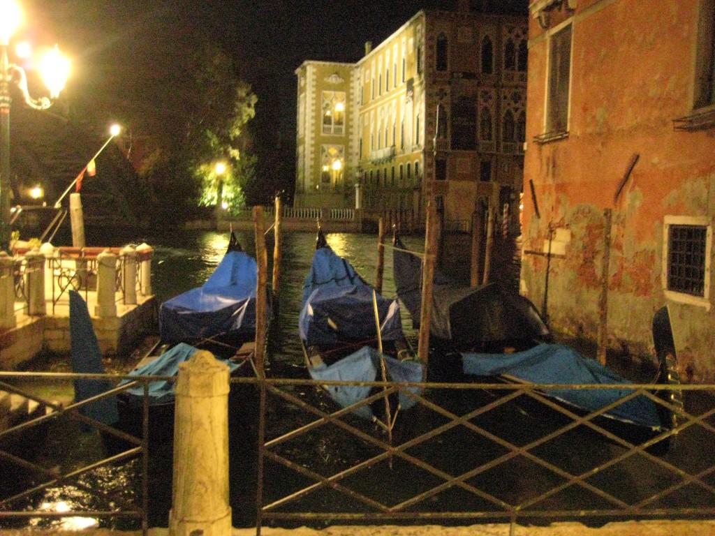 Des gondoles vénitiennes biens protégées pour la nuit