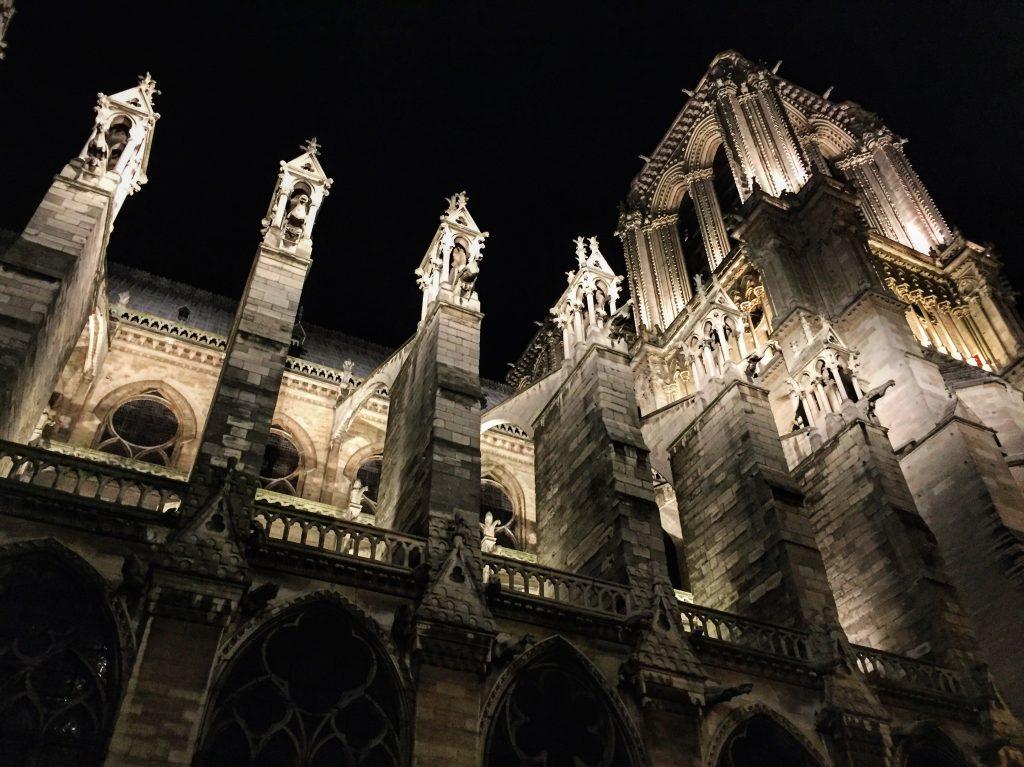 En contre bas de la cathédrale Notre-Dame de Paris la nuit