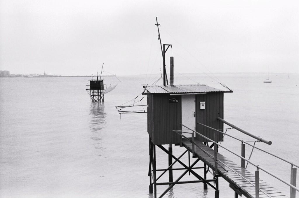 Petites pêcheries le long de la Loire à Saint-Nazaire