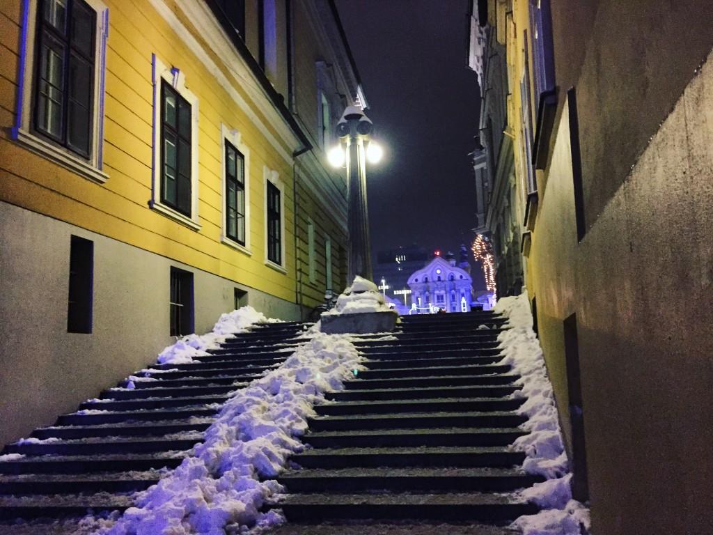 Une ruelle et des escalier à Ljubljana pendant la nuit