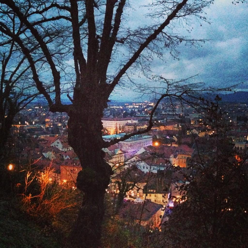 Ljubljana à la tombée de la nuit