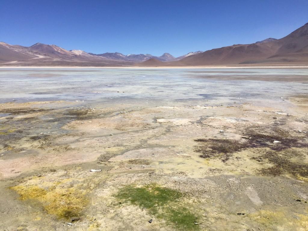 La lagune blanca en Bolivie perdue aux confins des Andes.