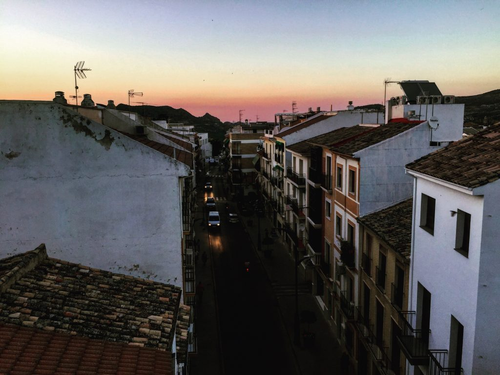 Priego de Córdoba au coucher du soleil