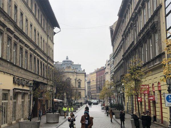 Dans les rues de Budapest en hiver