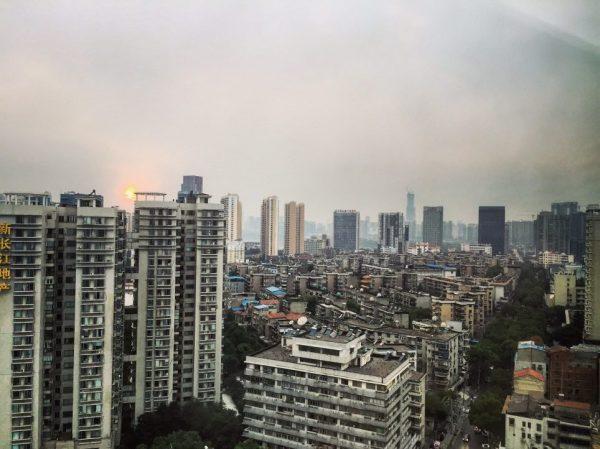 Photo prise depuis l'hôtel Continental de Wuhan