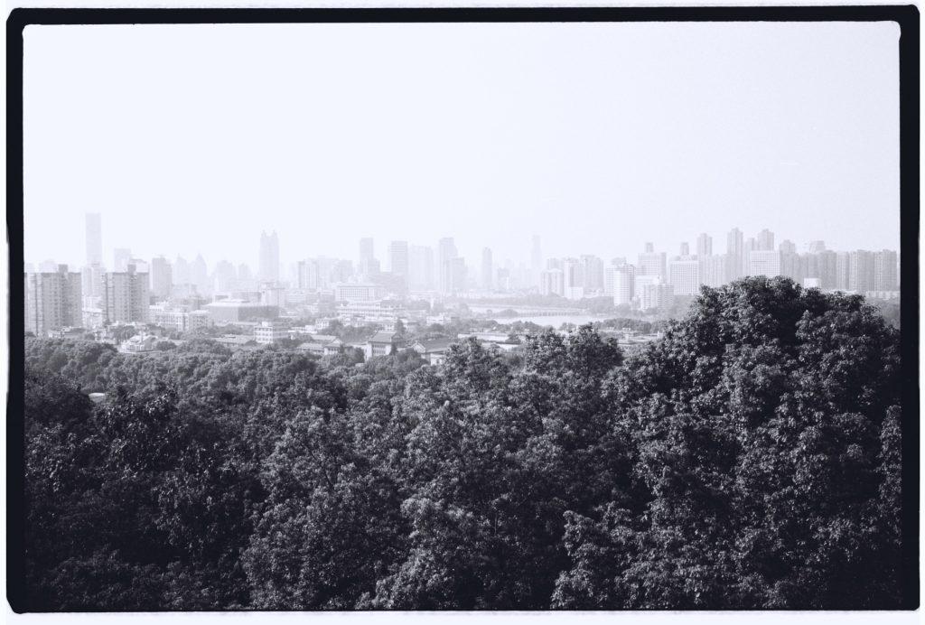 La ville de Wuhan, derrière la forêt disparaît dans les lointains