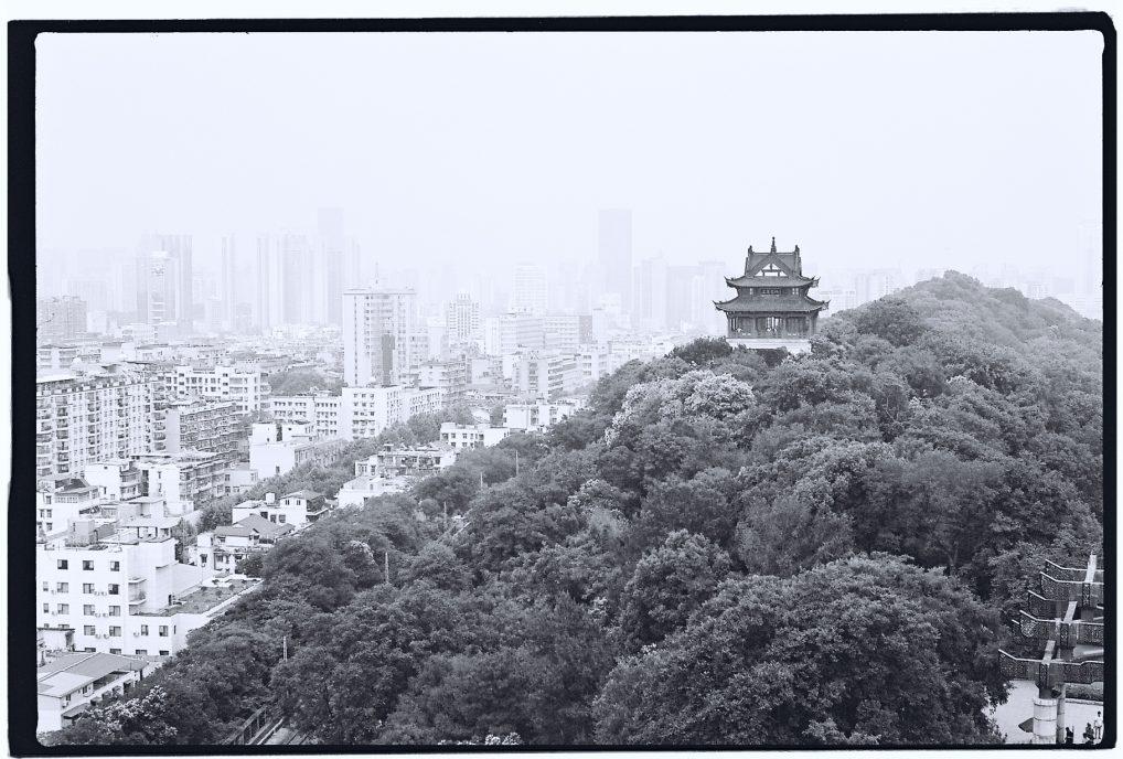 Un instantané en noir et blanc d'un petit temple dans un parc du centre de Wuhan