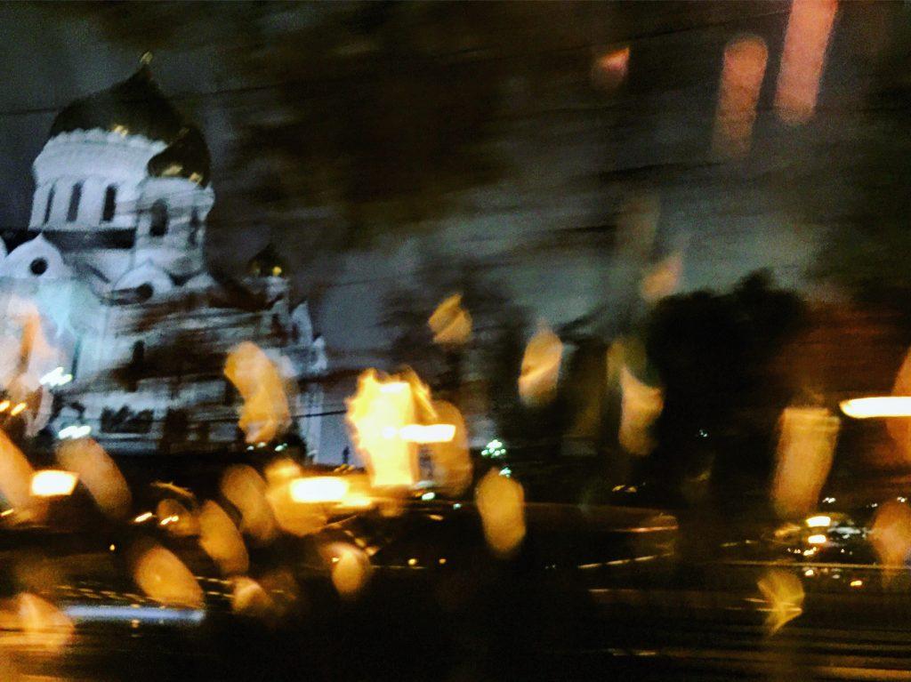 La cathédrale Christ Saint Sauveur, la nuit à Moscou