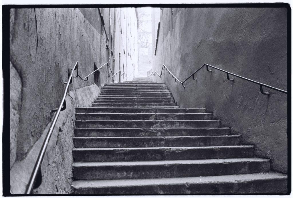 Les grands escaliers menant au quartier de Fourvière, Lyon