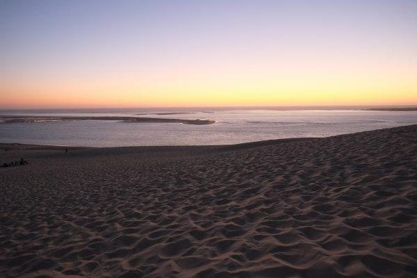 La vue depuis la dune du Pyla au coucher du soleil