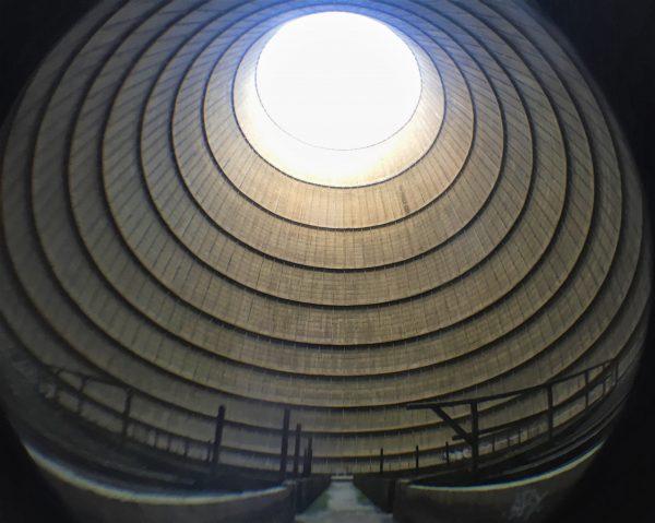 Tour de Charleroi, vue de l'intérieur au fisheye