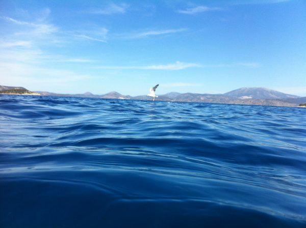 Le bleu de la mer à Hydra en face du Péloponnèse en Grèce