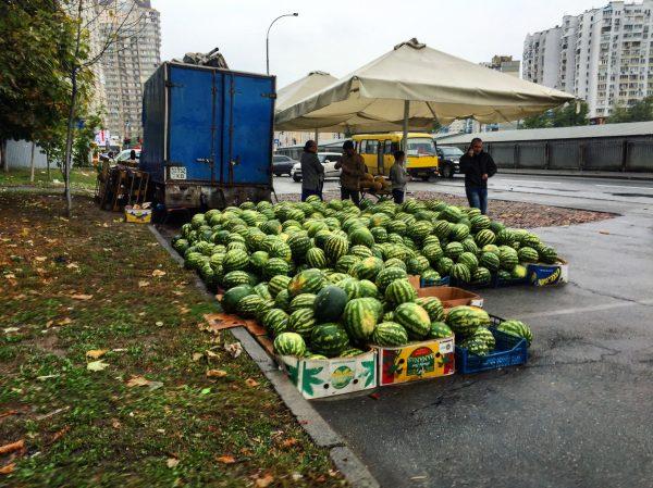 Une vente de pastèques à Kiev, rive gauche
