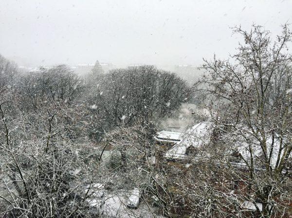 Les buttes Chaumont sous la Neige, Paris en mars 2018