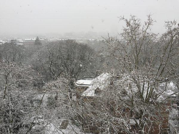 Vue sur le Parc des buttes Chaumont un jour où il neige