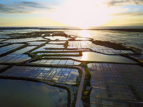 Les marais salants au coucher du soleil