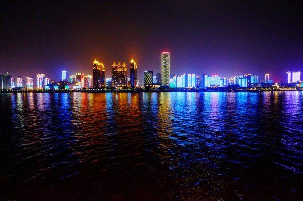 La skyline de wuhan la nuit
