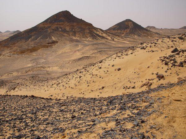 Le désert noir, une étendue de sable recouverte de petits cailloux noirs
