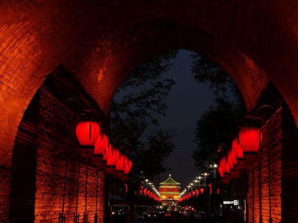 La tour de la cloche vue depuis la porte Sud de Xian
