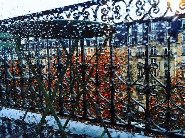 Une avenue à Paris un jour de pluie