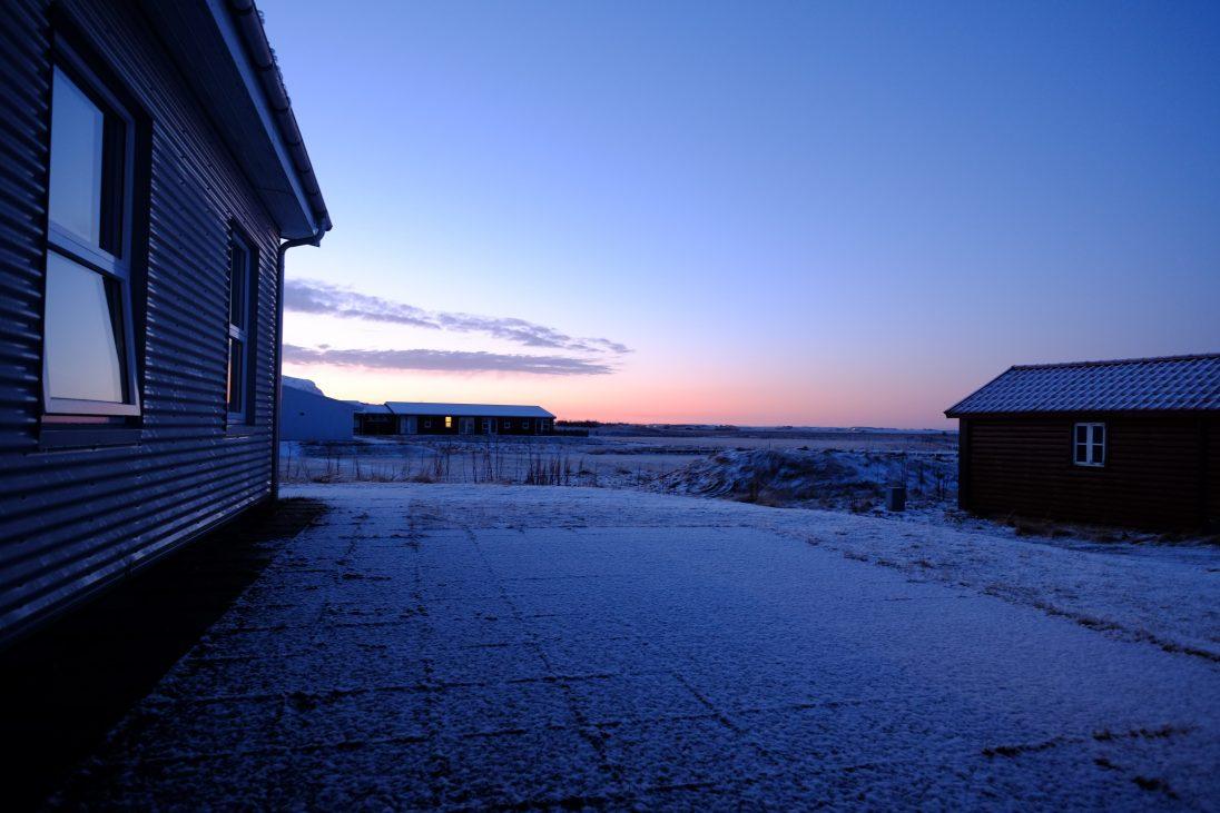 Lumière crépusculaire et froid glacial en Islande