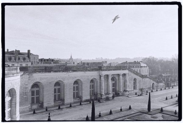 Vue sur une aile du château et sur la ville de Versailles