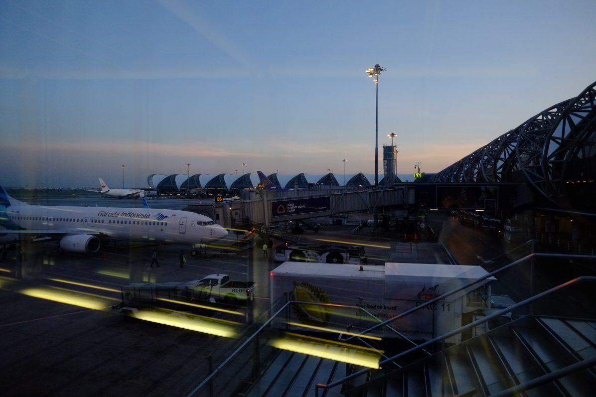 Arrivée à l'aéroport de Bangkok en Thaïlande