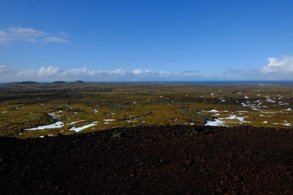 Vue sur la péninsule de Snaefellsnes depuis le cratère de Saxholl