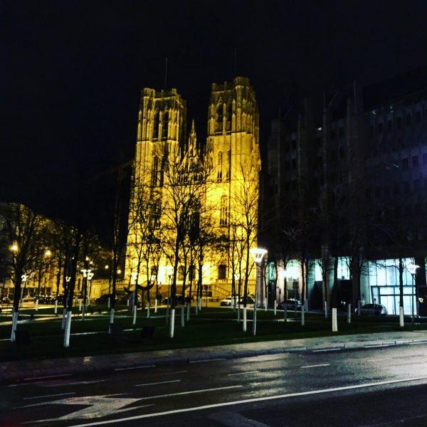 La cathédrale de Bruxelles la nuit