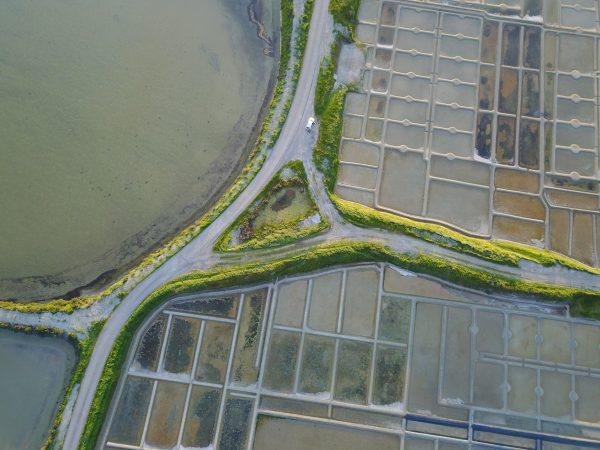 Vue aérienne sur les marais salants