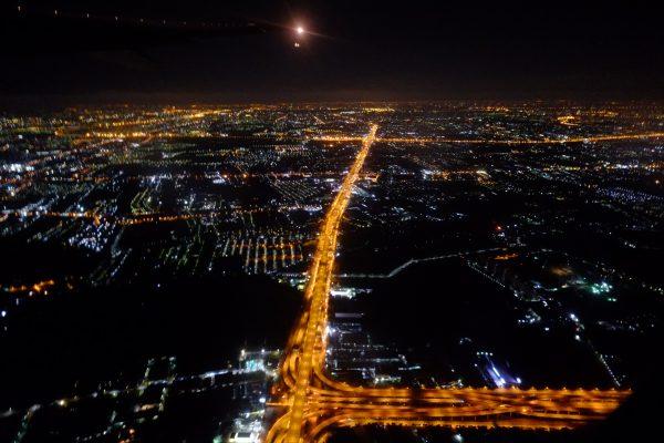 Vue de Bangkok la nuit depuis un avion