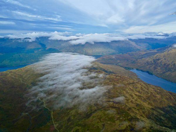Vue des highlands depuis un hydravion