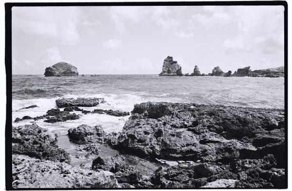 La pointe des Châteaux en noir et blanc