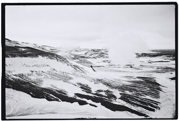 Hverir en Islande et en noir et blanc