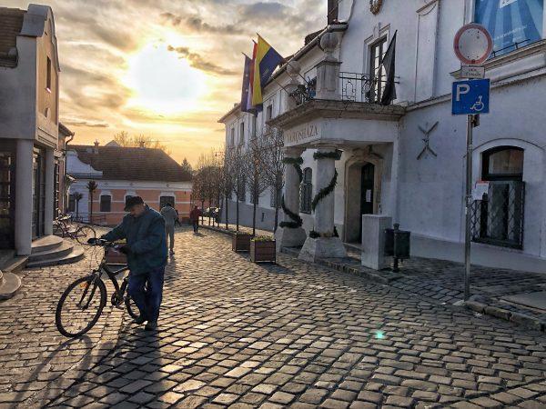 Un retraité rentre chez lui en poussant son vélo