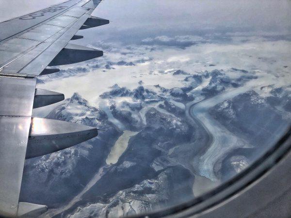 La Patagonie vue depuis le hublot d'un avion